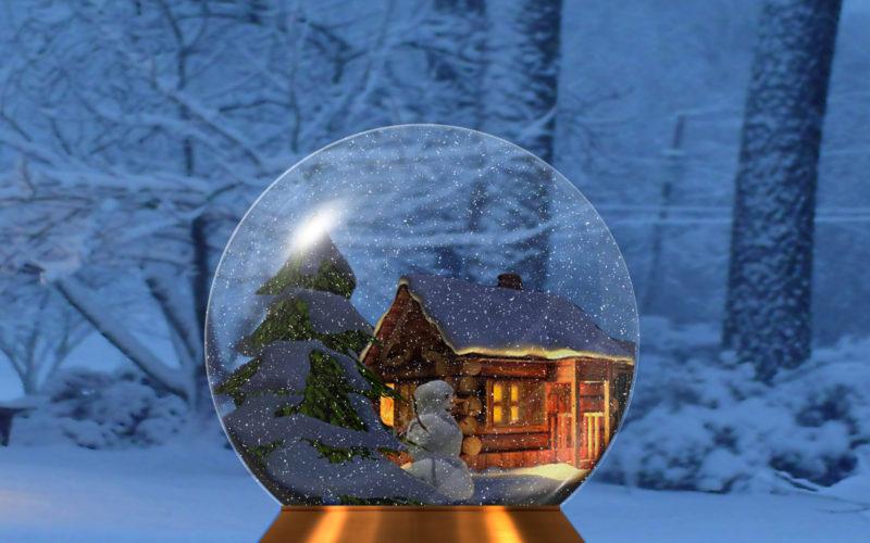 Открытка шар со снегом, смешными рисунками